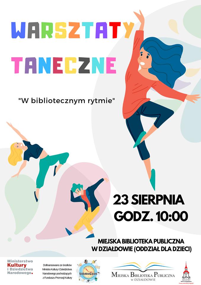 Plakat MBP  zaprasza na warsztaty taneczne 23 sierpnia godz.10:00.