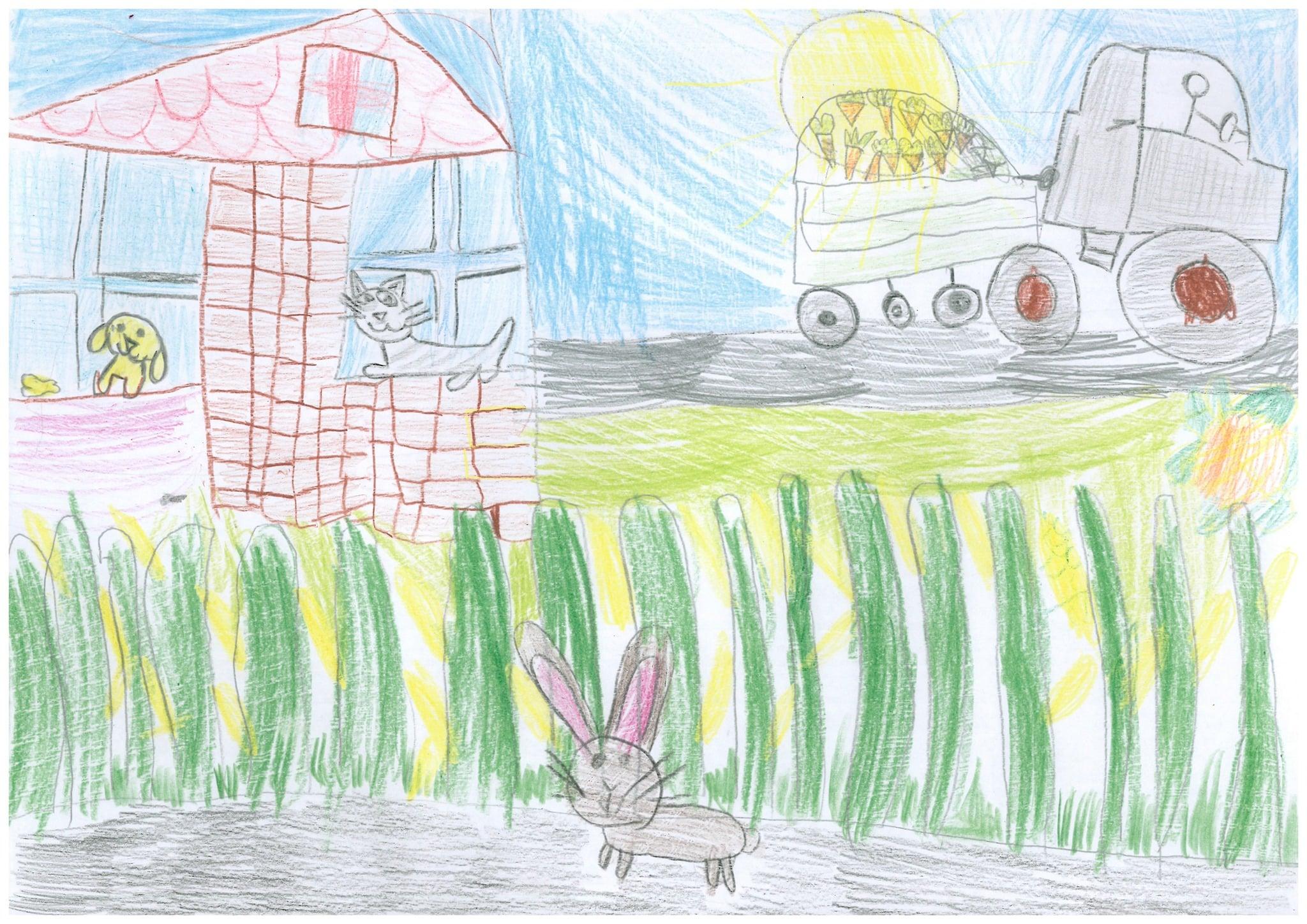Obrazek narysowany przez dziecko przedstawia królika i jego przyjaciół.