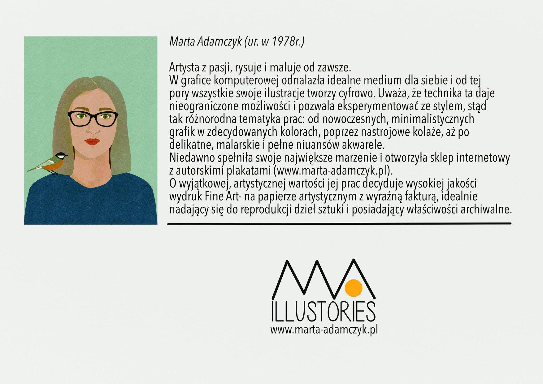 Plakat debiutanckiej wystawy grafik Marty Adamczyk zatytułowanej ,,Wszystkie moje ilustorie''.