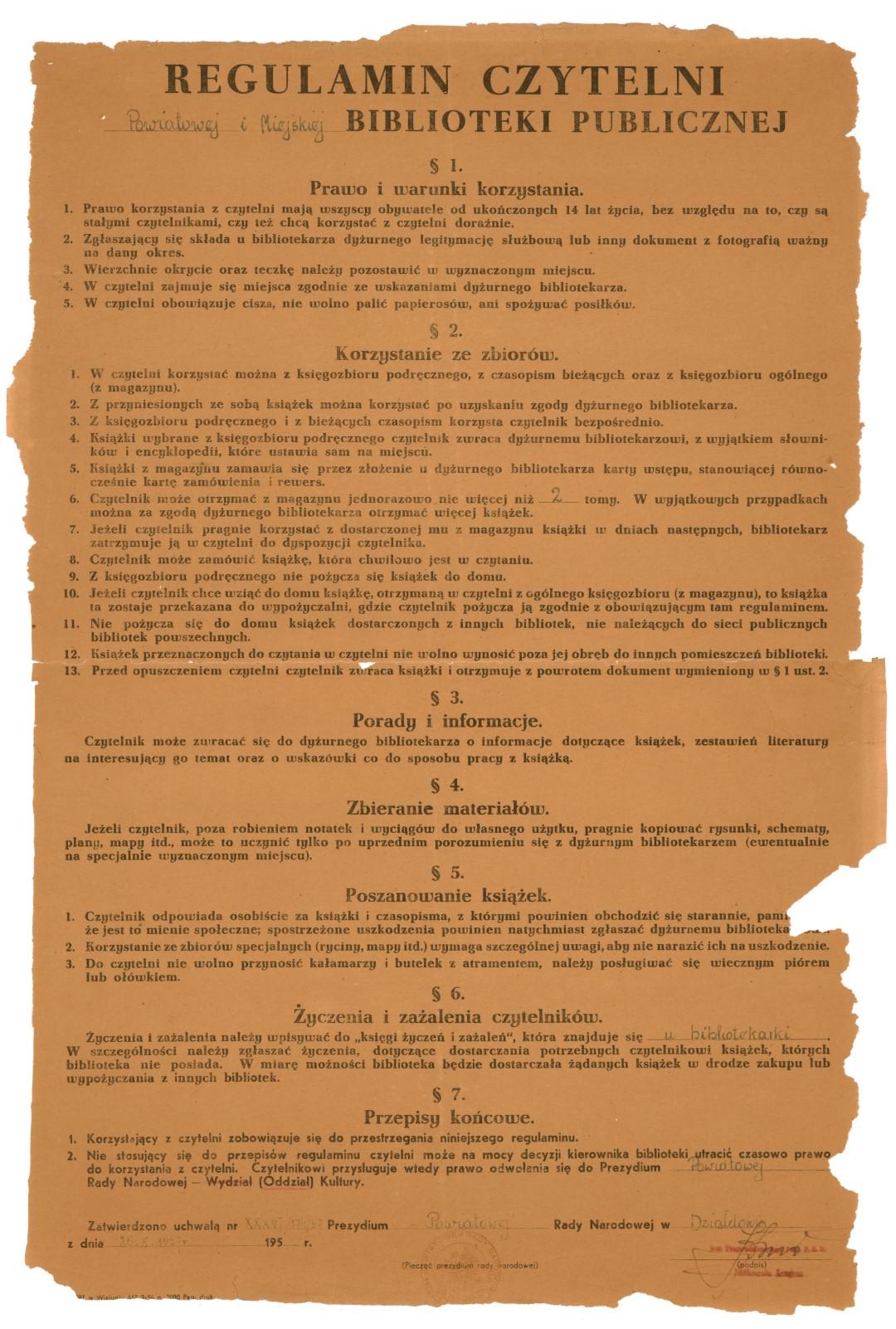 Regulamin Powiatowej i Miejskiej Biblioteki Publicznej w Działdowie z 1957 roku