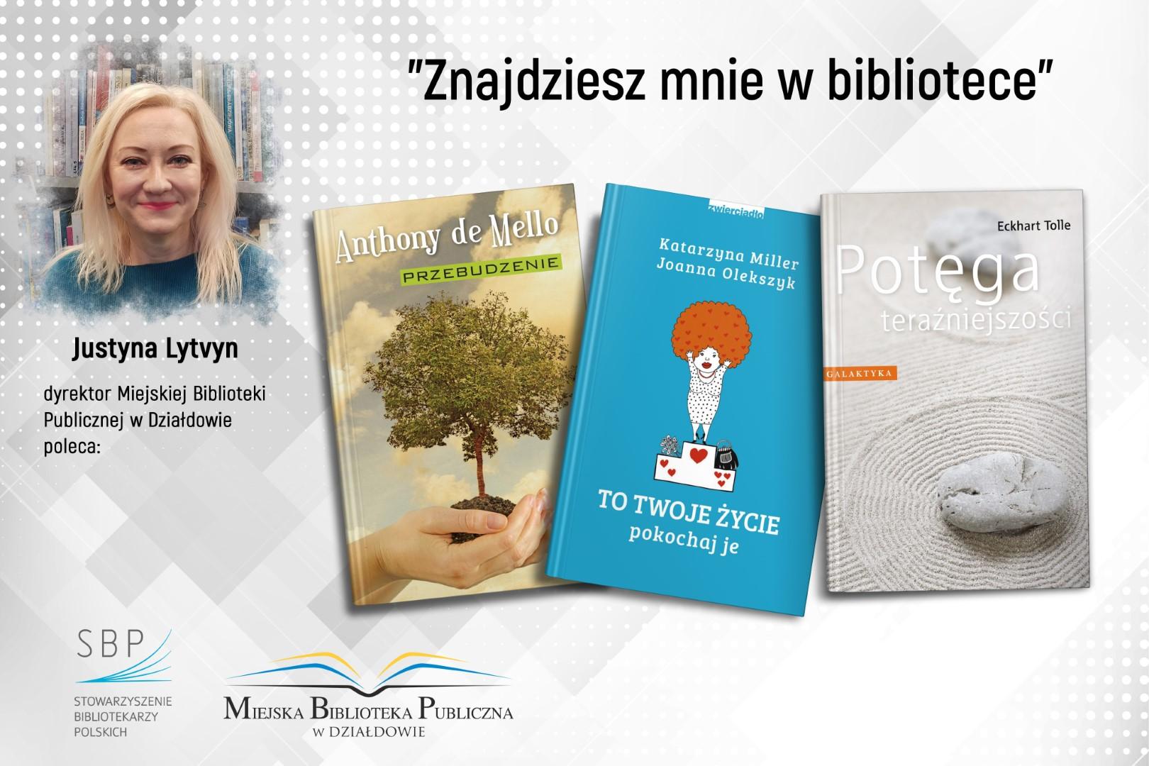 plakat z pracownikiem biblioteki polecającym ulubione książki na styczeń