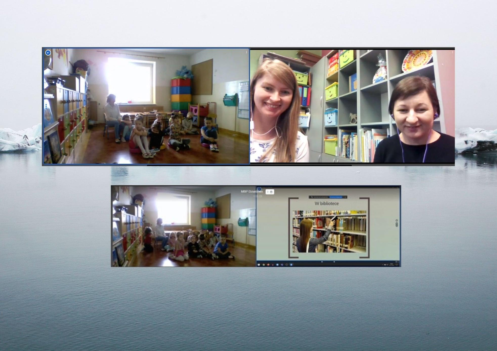widok z kamerki internetowej na grupę dzieci w przedszkolu w Księżym Dworze oraz bibliotekarki- Anię i Aleksandrę prowadzące lekcję