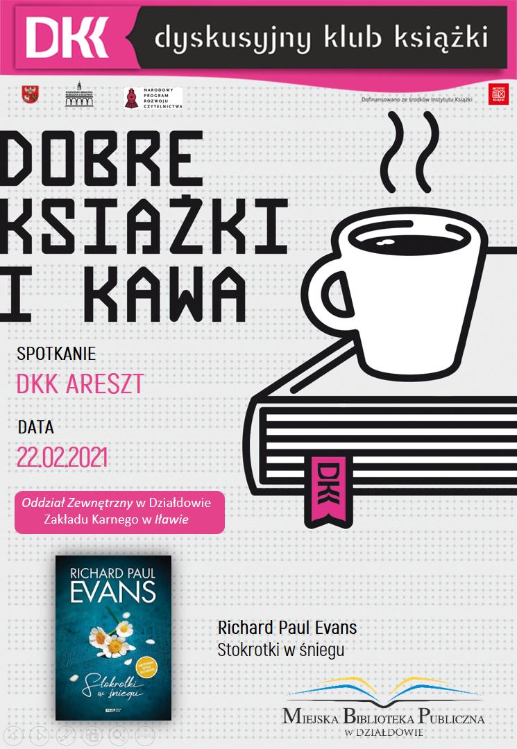 plakat informujący o terminie, książce i autorze kolejnego spotkania dkk