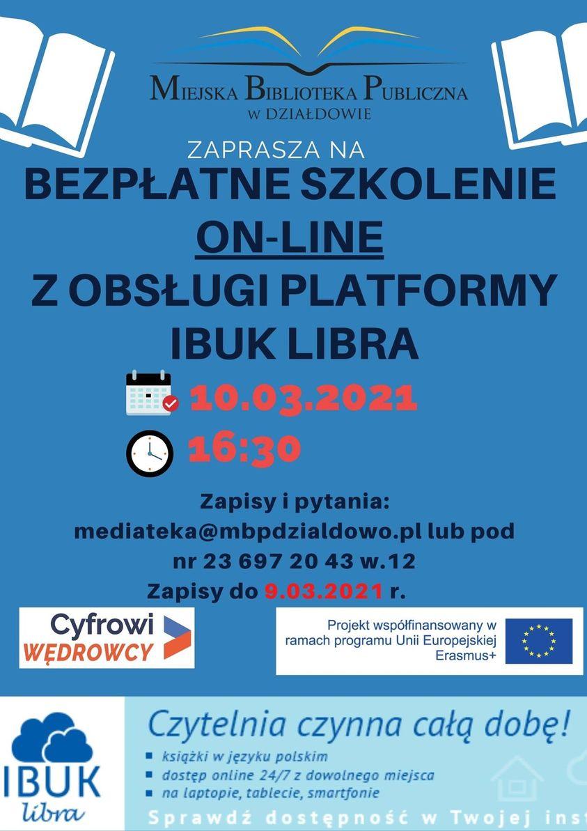 plakat zapraszający na szkolenie online z obsługi Ibuk libra