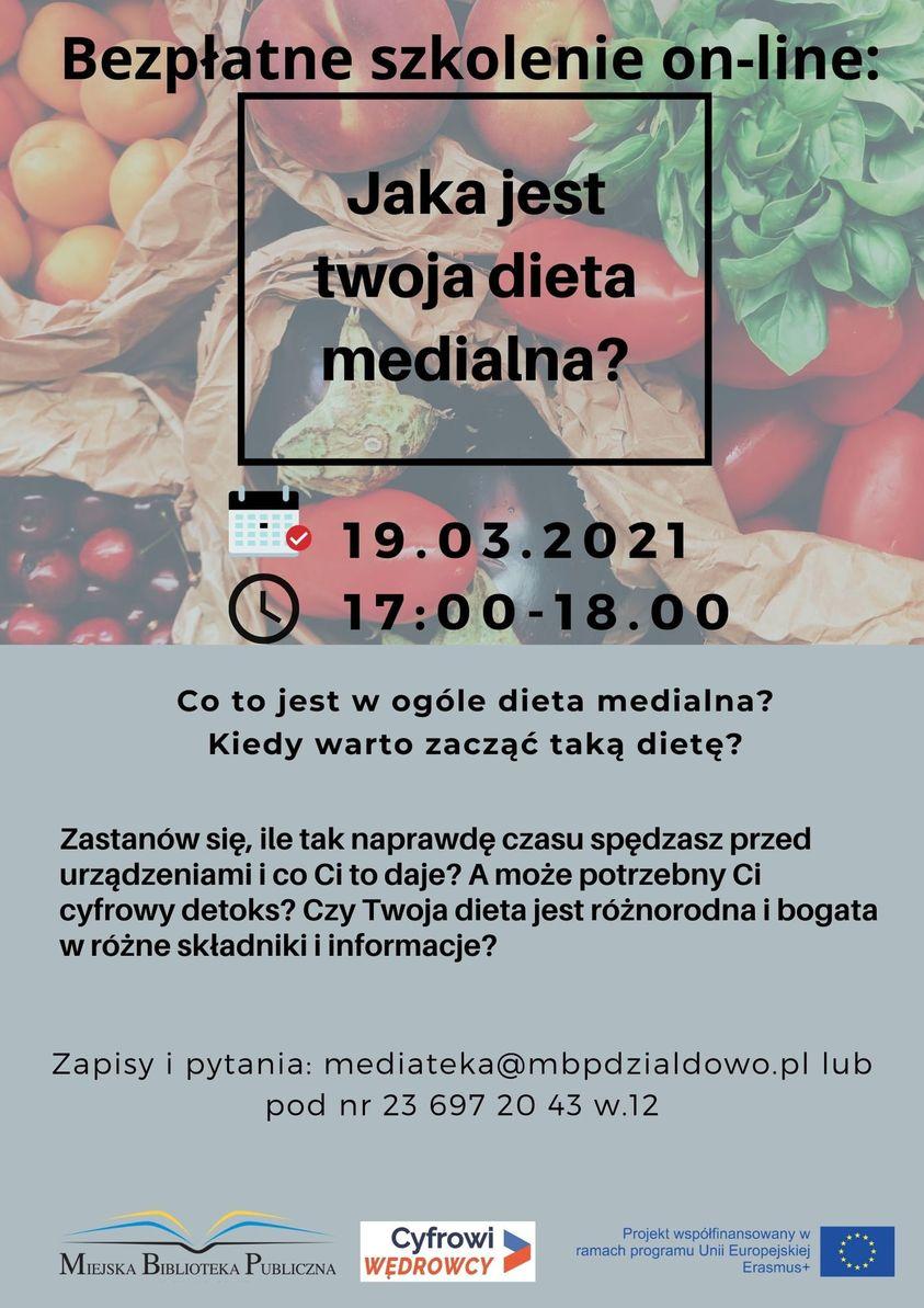 """Plakat zapraszający na szkolenie online pt. """"Dieta medialna"""""""