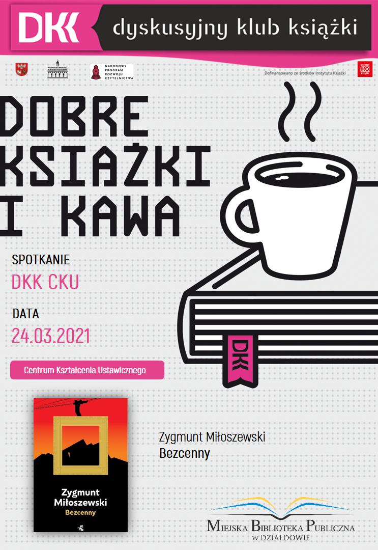 plakat informujący o terminie, książce i autorze kolejnego spotkania dkk cku