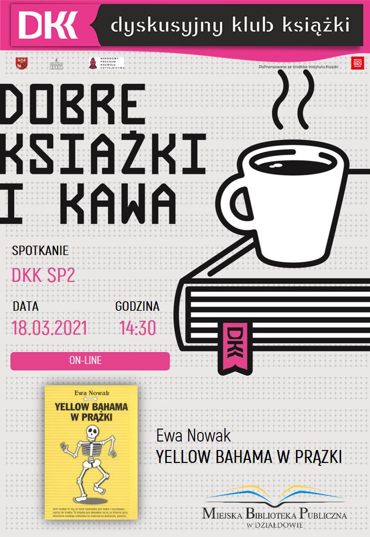 plakat informujący o terminie, książce i autorze kolejnego spotkania dkk ZS SP2