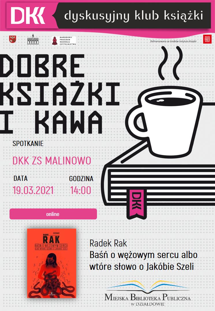 plakat informujący o terminie, książce i autorze kolejnego spotkania dkk ZS MALINOWO