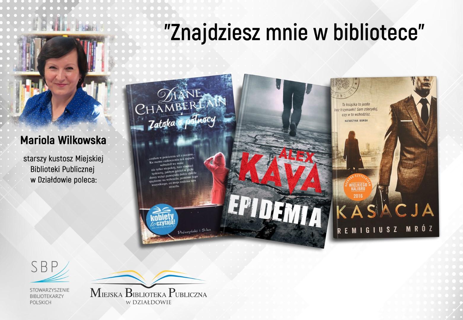plakat z pracownikiem biblioteki polecającym ulubione książki na marzec