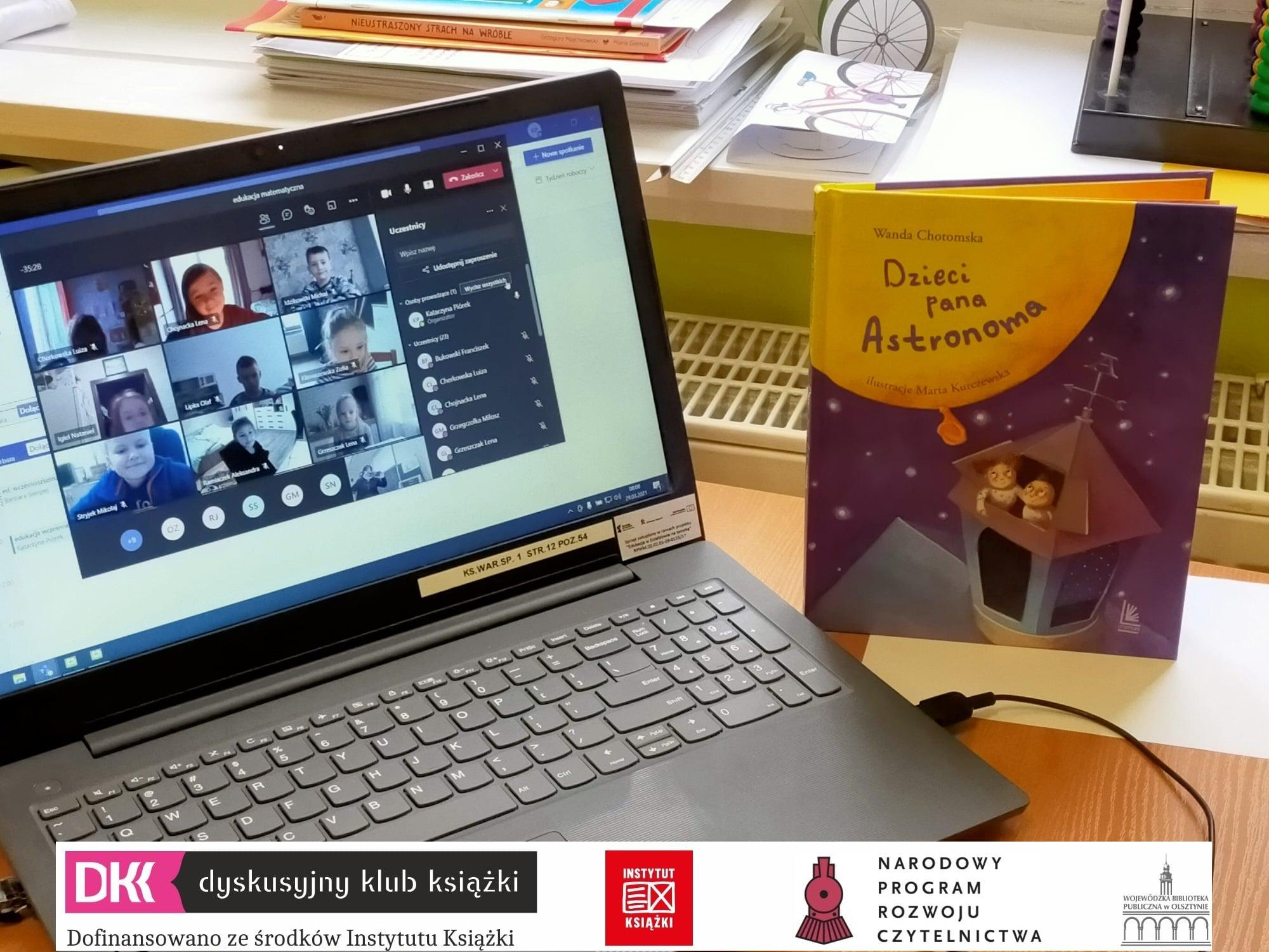Spotkanie Dyskusyjnego Klubu Książki Szkoły Podstawowej nr1 online (screen ekranu ze spotkania na zoomie)