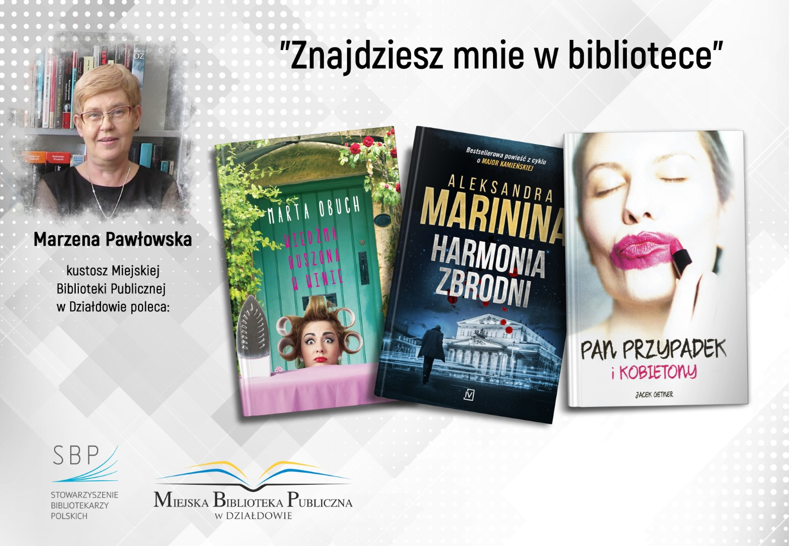 okładki trzech książek polecanych przez pracownika biblioteki