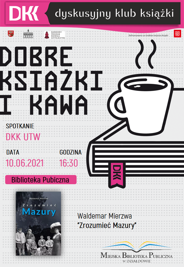plakat informujący o terminie, książce i autorze kolejnego spotkania dkk utw